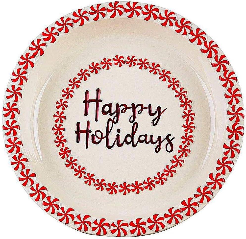 "Pie Dish Christmas Ceramic Baking Serving Deep Pan Colorful W Embossed Rim 10.25""D (Happy Holidays)"