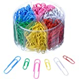 Shappy Colored Paper Clips Medium and Jumbo Size, Assorted Colors, 450 Pieces (28 mm, 50 mm)