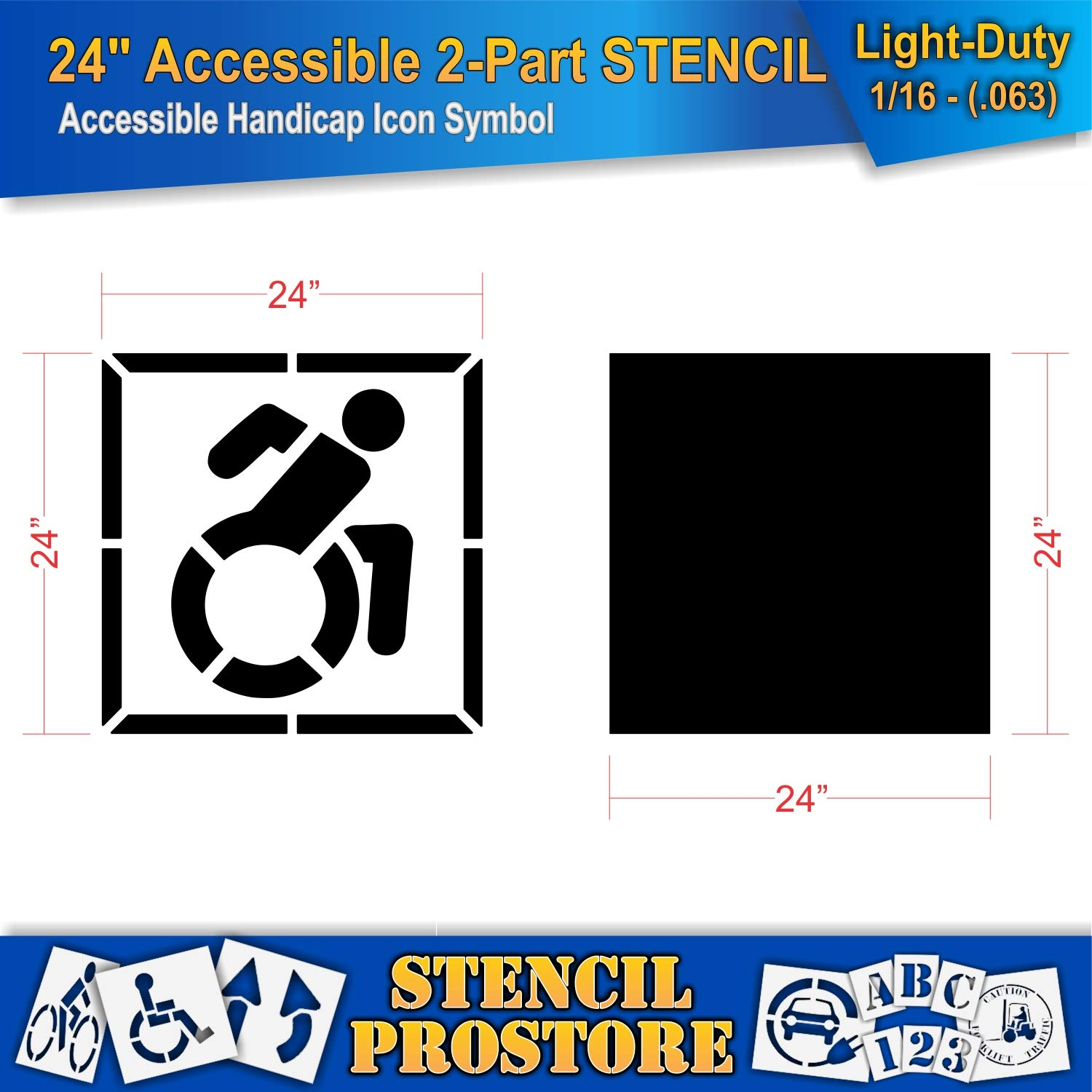 Pavement Stencils - 42 in - Accessible Icon Symbol Stencil with Background (2-Piece) - 42'' x 42'' x 1/16'' (63 mil) - Light-Duty by Stencil ProStore (Image #2)