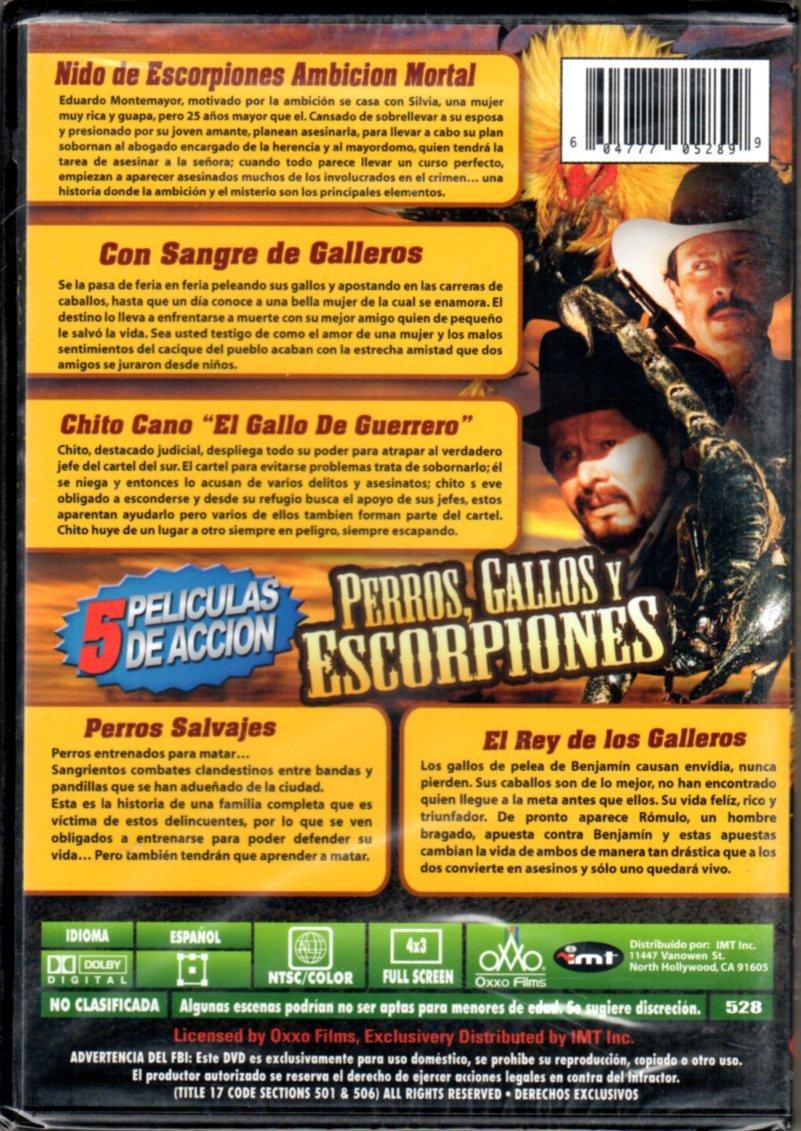 Amazon.com: Perros, Gallos y Escorpiones: 5 Peliculas de Accion - Nido de Escorpiones Ambicion Mortal/Con Sangre de Galleros/Chico Cano El Gallo De ...