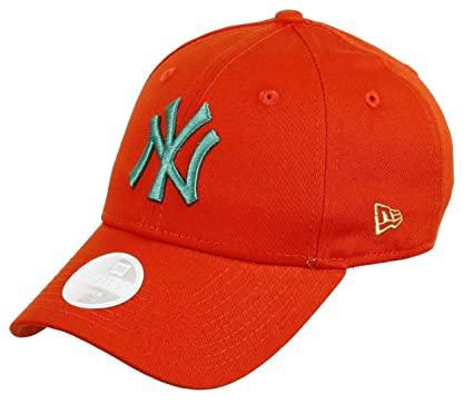 New Era New York Yankees 9forty Adjustable Women Cap League Essentials  Orange Turquoise - One 1be315d51d10