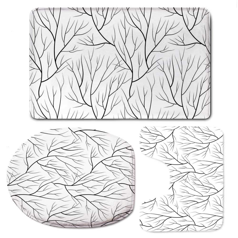 YOLIYANA Winter Vaurious Comfortable Bathroom 3 Piece Mat Set,Winter Tree Without Leaves Nature Theme Delicate Branches Pattern Japanese Style for Office,F:20'' W x31 H,O:14'' Wx18 H,U:20'' Wx16 H