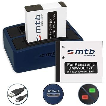 2x Batería + Cargador doble (USB) para Panasonic DMW-BLH7(E) | Lumix DMC-GF7 | DMC-GM1, GM5 | DMC-LX15 | DC-GX800 - contiene cable micro USB