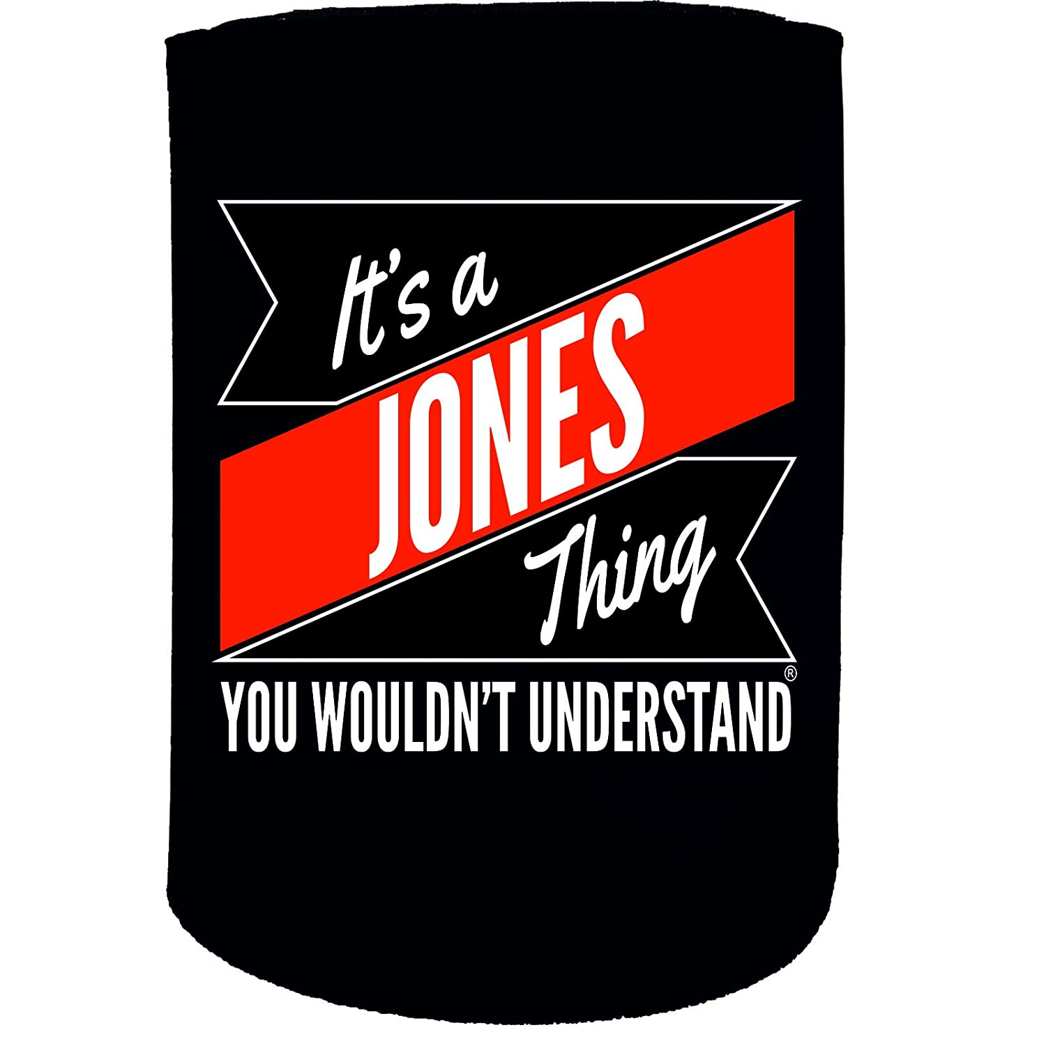 123t Stubby Holder - Jones Thing Surname - Funny Novelty Birthday Gift Joke Beer Can Bottle Coolie Koozie Stubbie