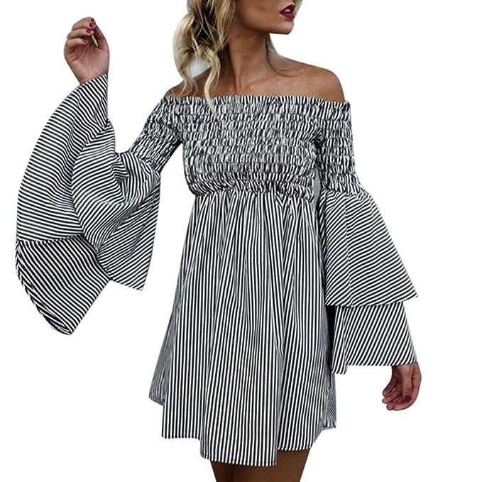 SEWORLD Neuer Elegant Gestreift Schulterfreie T-Shirt Kleid Frauen Strand  Party Langarm A-Linie a7328e0fd0