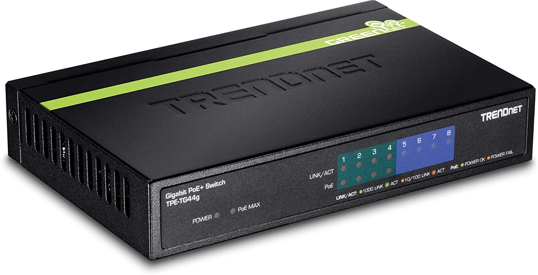 4 x Gigabit TRENDnet 8-Port Gigabit GREENnet PoE+ Switch,TPE-TG44G Renewed Ethernet Unmanaged Switch, 61W Power Budget 4 x Gigabit PoE//PoE+ Up to 30 Watts//Port 16 Gbps Switch Capacity