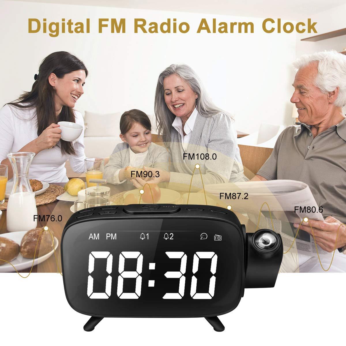 Despertador Proyector, Despertador Reloj Digital de Proyección, Radio Despertador Digital Proyector con Radio FM, Alarmas Dobles, Función Snooze, ...