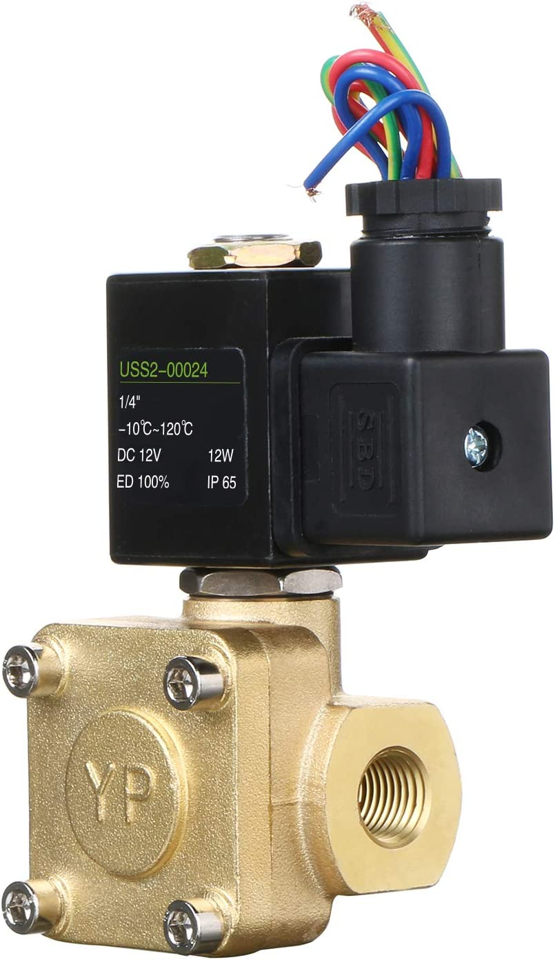 1//4 Brass Electric Solenoid Valve 12V DC Normally closed 230 PSI VITON Water Air Oil