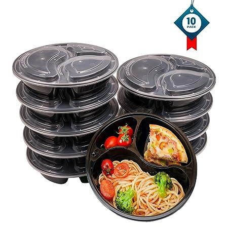 OITUGG 3 Contenedor de Compartimentos de Comida Preparada con Tapa, Apilable, Lavavajillas y Microondas, Caja de Almuerzo 10 Pack by
