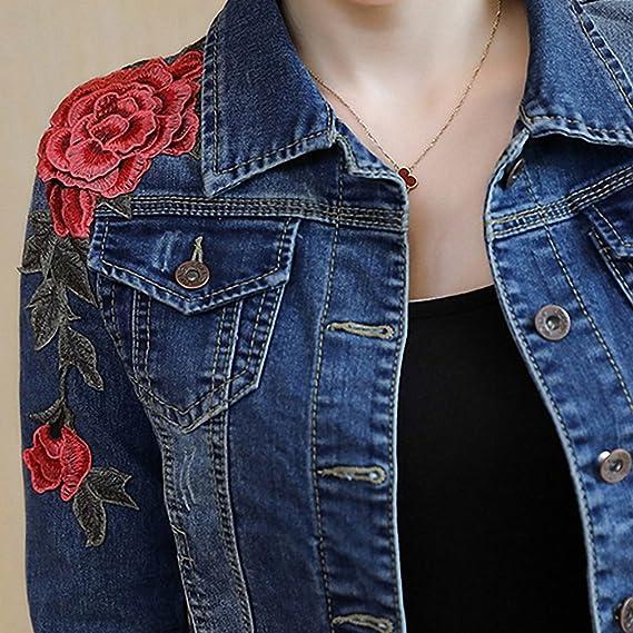 Huiwa Womens Denim Jacket Embroidery Floral Long Sleeve Jeans Coat Skinny Jackets at Amazon Womens Coats Shop