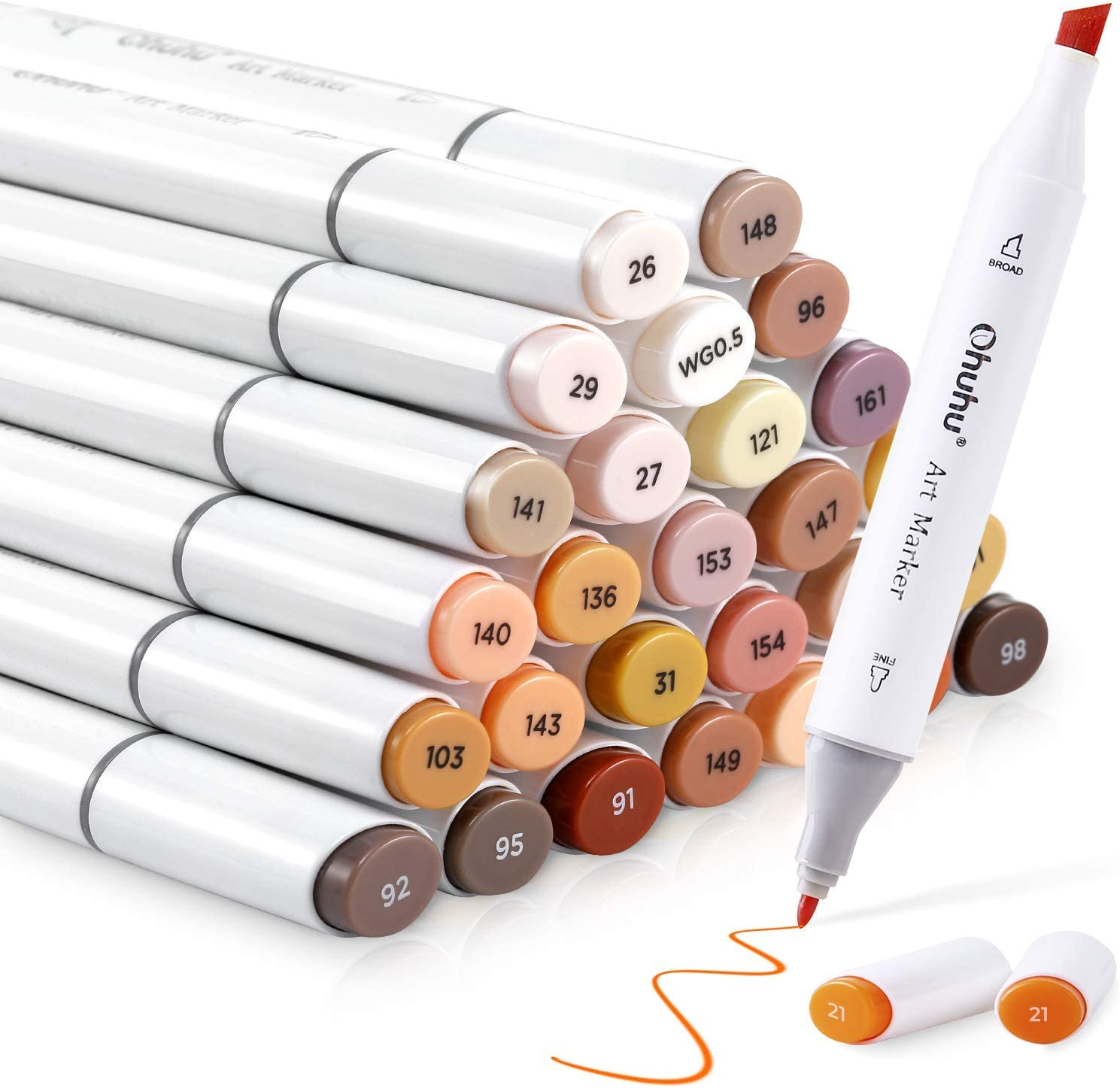 36 Skin-Tone Colors Alcohol Markers, Ohuhu Double Tipped Sketch Art Marker, Chisel & Fine, Alcohol-based Markers for Kids and Adults' Coloring Illustration, Comes w/ 1 Colorless Alcohol Marker Blender