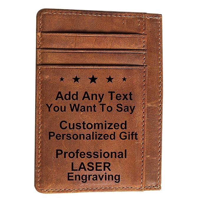 934a0d08d2d Graduation Gift for Son Boy Men Engraved Wallet Custom Personalized Card  Holder