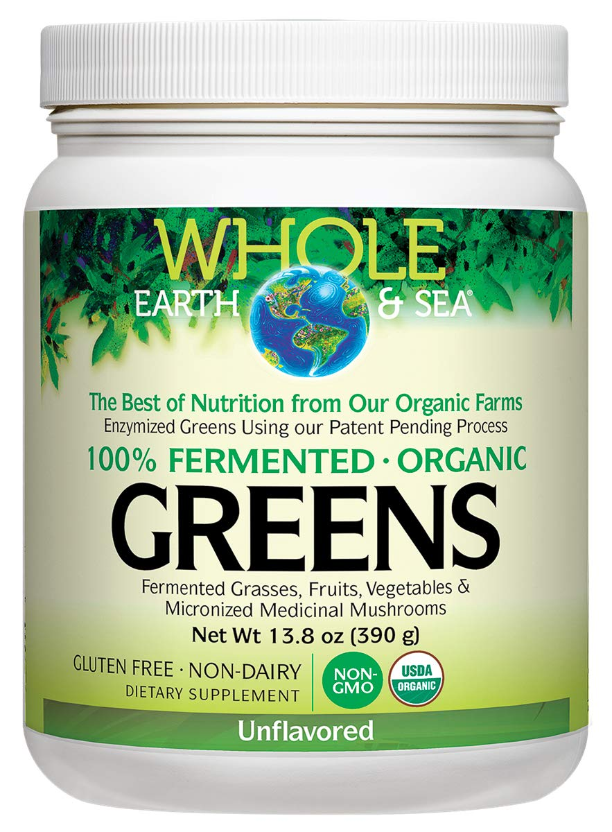 Whole Earth & Sea from Natural Factors, Organic Fermented Greens, Whole Food Supplement, Vegan, Non-Dairy, Gluten Free, Unflavored, 13.8 oz (30 Servings)