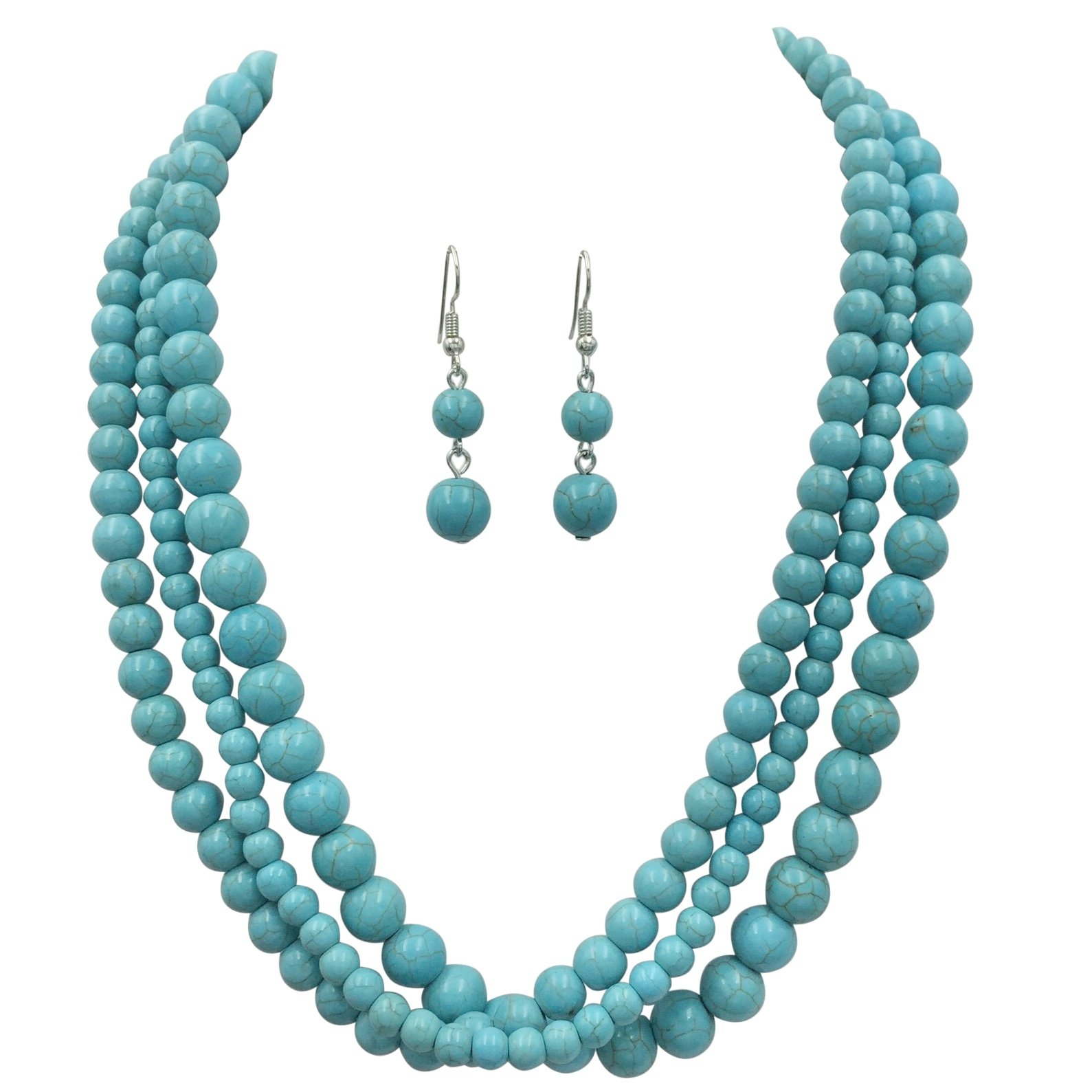 3 Row Simulated Turquoise Silver Tone Western Southwestern Look Necklace & Dangle Earring Set (Round)