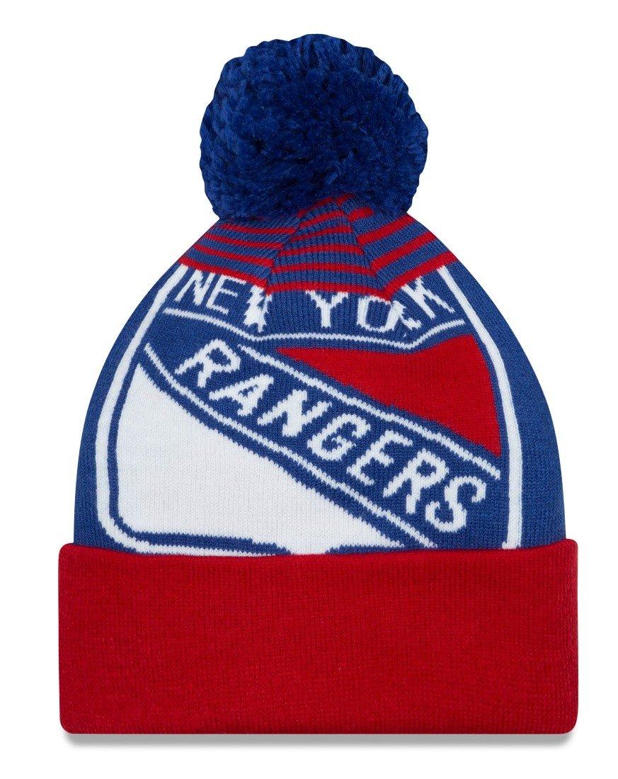 cheap for discount 06553 5052c ... wholesale amazon new york rangers new era logo whiz blue cuffed pom knit  beanie hat cap