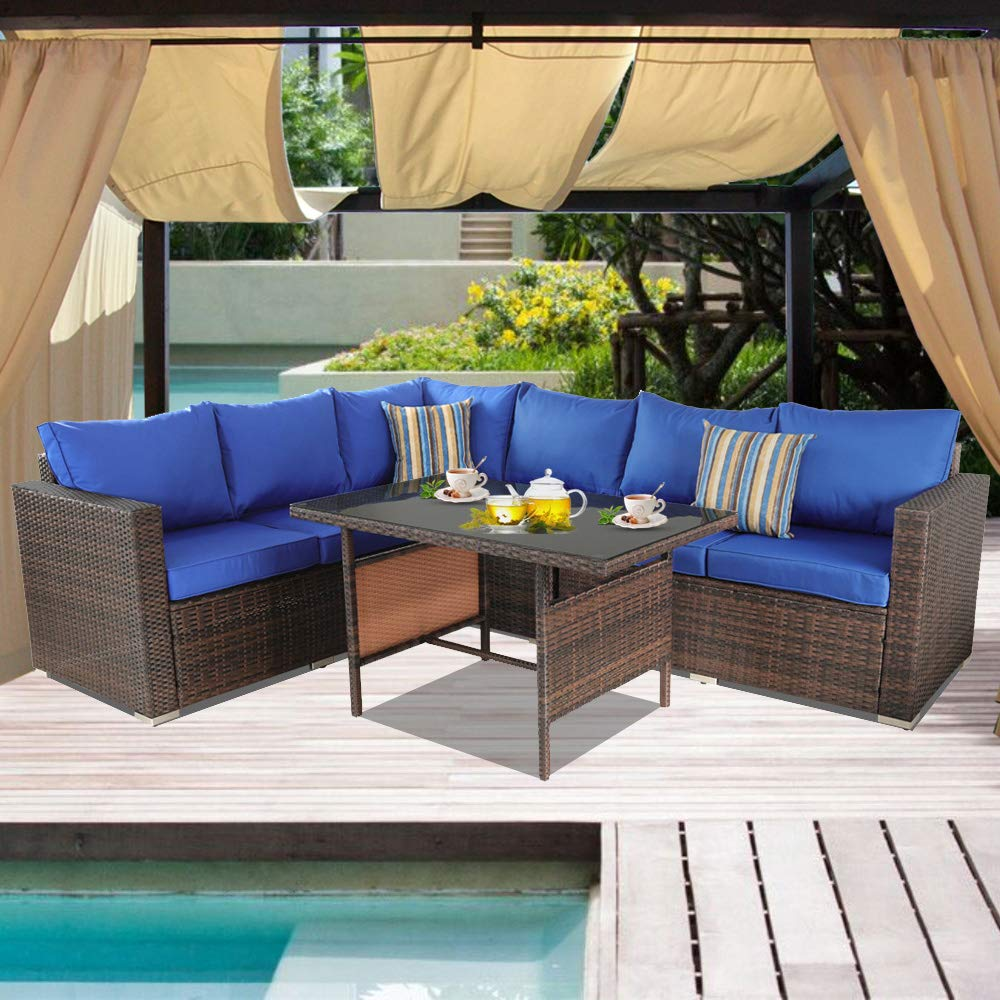 Patio Couch 7pcs Outdoor Wicker Sofa Set Garden Brown Rattan Furniture Royal Blue Cushioned Sectional Conversation Set with Dining Table