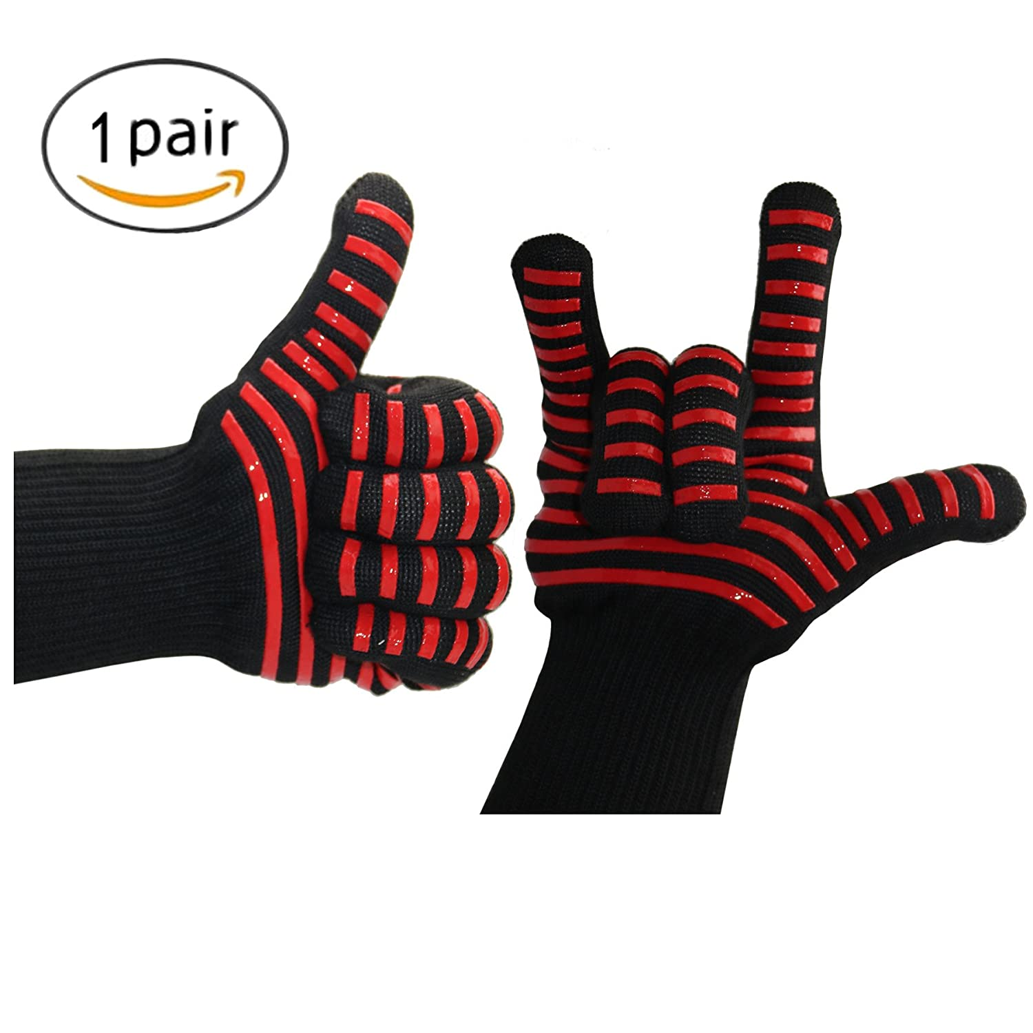 Kealux 932° F Extreme Heat Resistant Oven Gloves, BBQ Grilling Cooking Gloves, Fire Gloves For Fireplace and Fire Pit, Smoker & Kitchen Accessories-1 Pair(Black/Black dot)