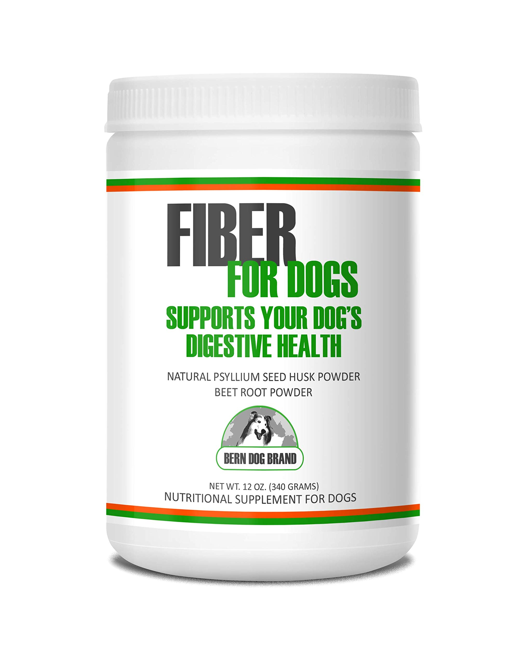Fiber for Dogs psyllium seed husk powder & dehydrated beet root powder aids a number of intestinal disorders in dogs including diarrhea, constipation & anal gland issues. Available in 6 and 12 oz. by Bern Dog Brand