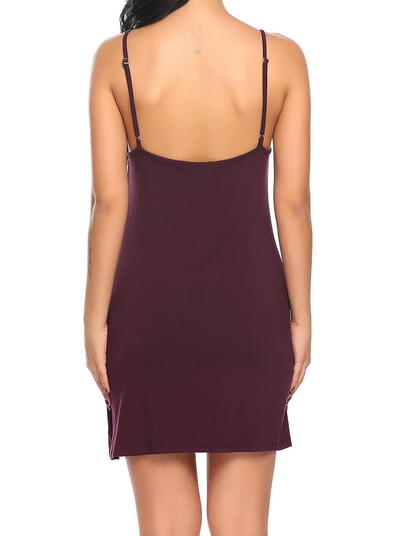 Ekouaer Chemise Womens Sleepwear Soft V-Neck Nightgown Full Slip Lingerie Dress S-XXL Ekouer EKK005767