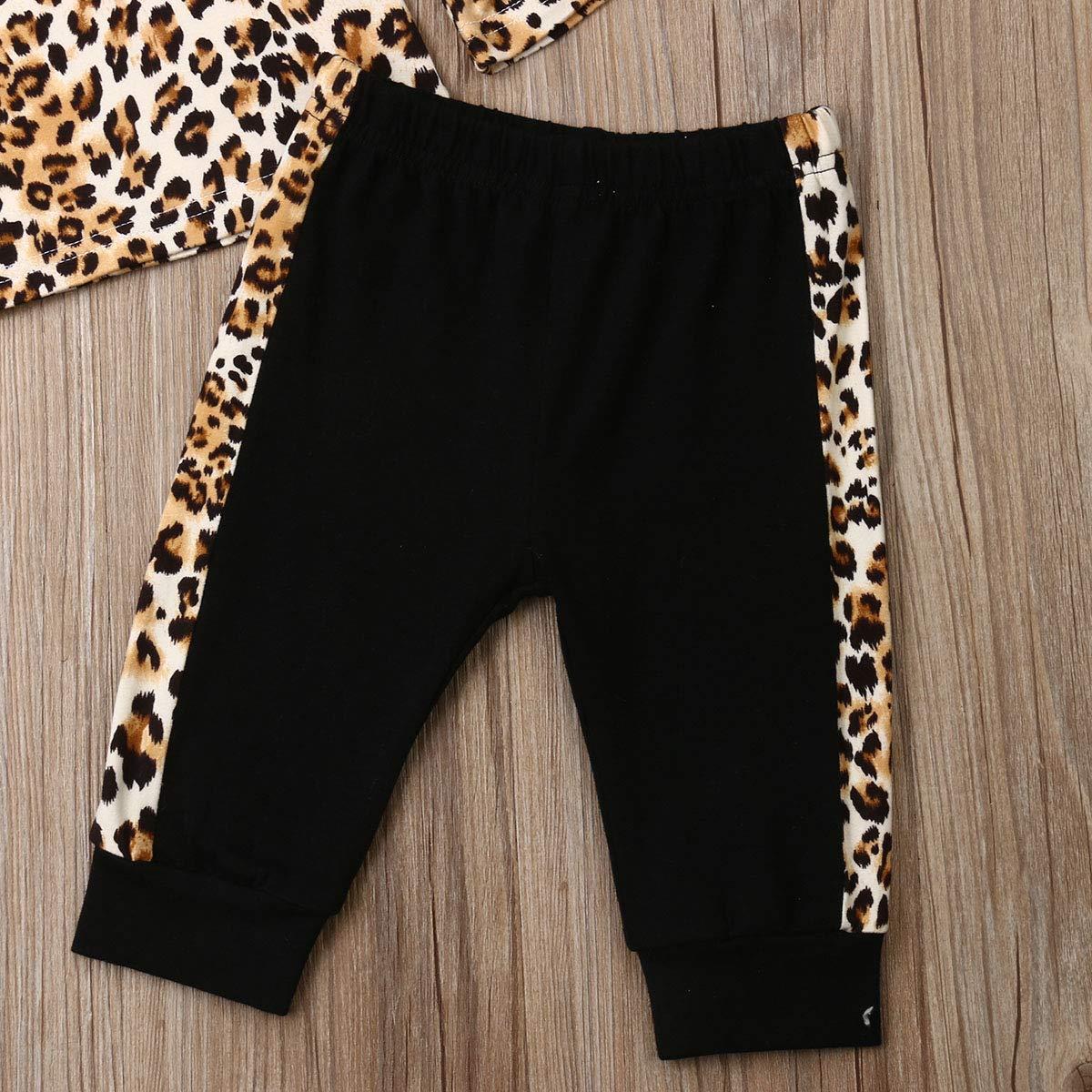 con Maglietta a Maniche Lunghe a Campana Leopardata e Pantaloni Svasati Mengying Set di Vestiti per Bambina