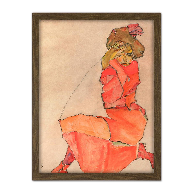 Kneeling Female in Orange Red Dress by Egon Schiele Art Print