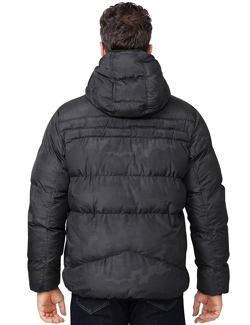 CAMEL CROWN Mens Winter Thicken Cotton Coat Puffer Windproof Jacket with Hood Inner Pocket