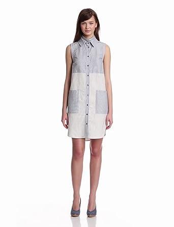 10 Crosby Derek Lam Women's Double Collar Sleeveless Tunic Dress, Sand/Midnight Stripe, 2