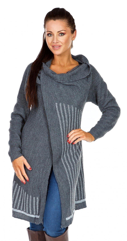 Zeta Ville Womens Waterfall Jacket Cardi Draped Blazer Knit Colour Block - 409z