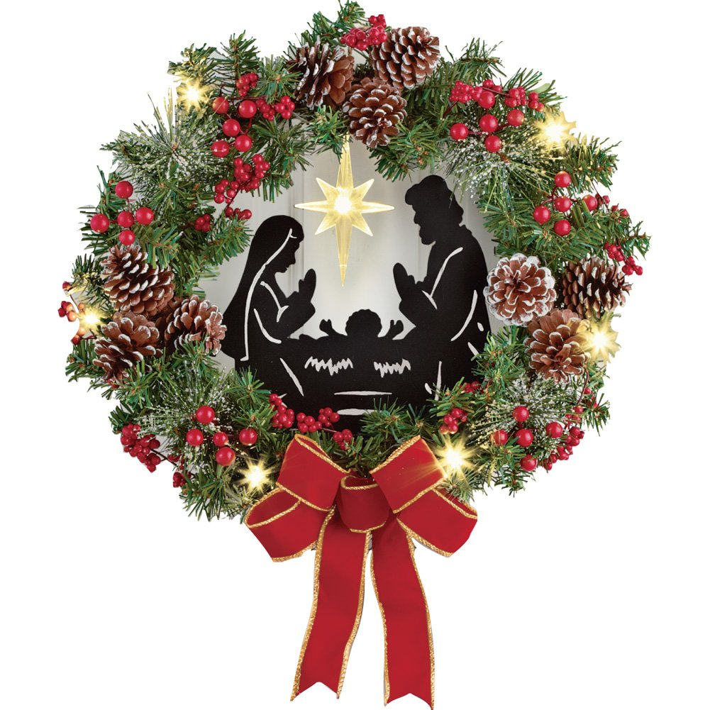 Collections Etc Lighted Nativity Scene Christmas Wreath