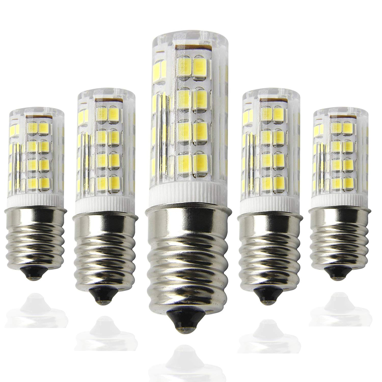 Ceramic E17 LED Bulb for Microwave Oven Appliance, 40W Halogen Bulb Equivalent, Daylight White 6000K, Pack of 5