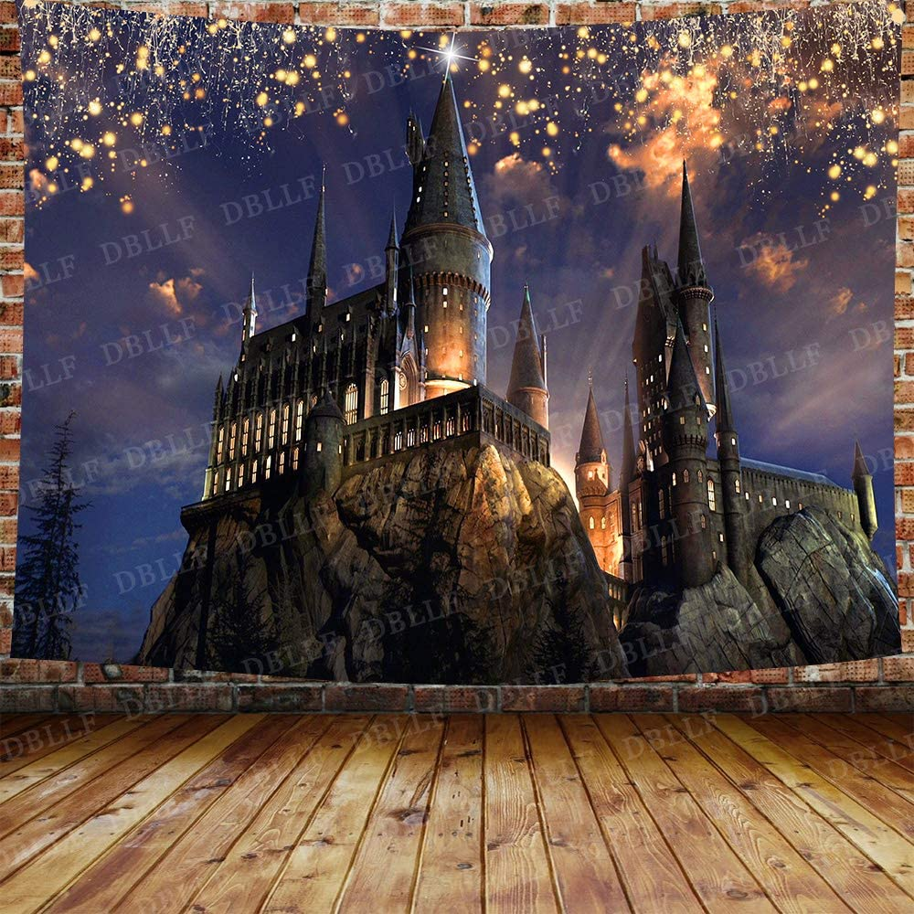 DBLLF Fantasy Castle Tapestry Gothic Style Ancient Castle Lights Forest Magic Night Scenic Wall Hanging,Velvet Decor for Living Room Bedroom Dorm DBZY1421