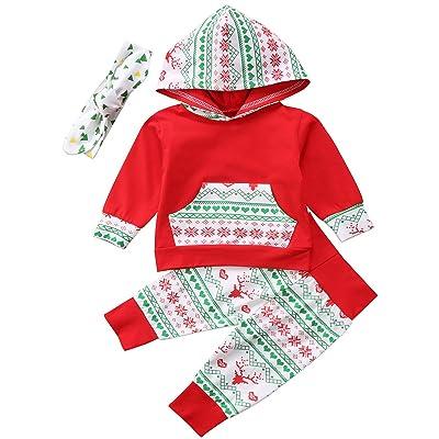 Annvivi Baby Boy Girl 3pcs Christmas Clothes Long Sleeve Hoodie Retro Deer Pants Headband