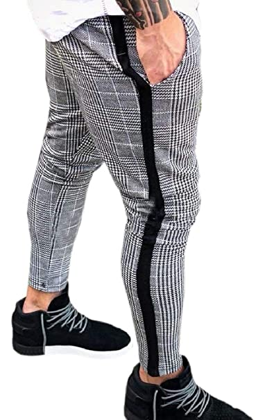 def783a6905c4 YIhujiuben Men's Tapered Stretch Western Plaid Checked Pant Checkered  Casual Western Comfort Trousers at Amazon Men's Clothing store: