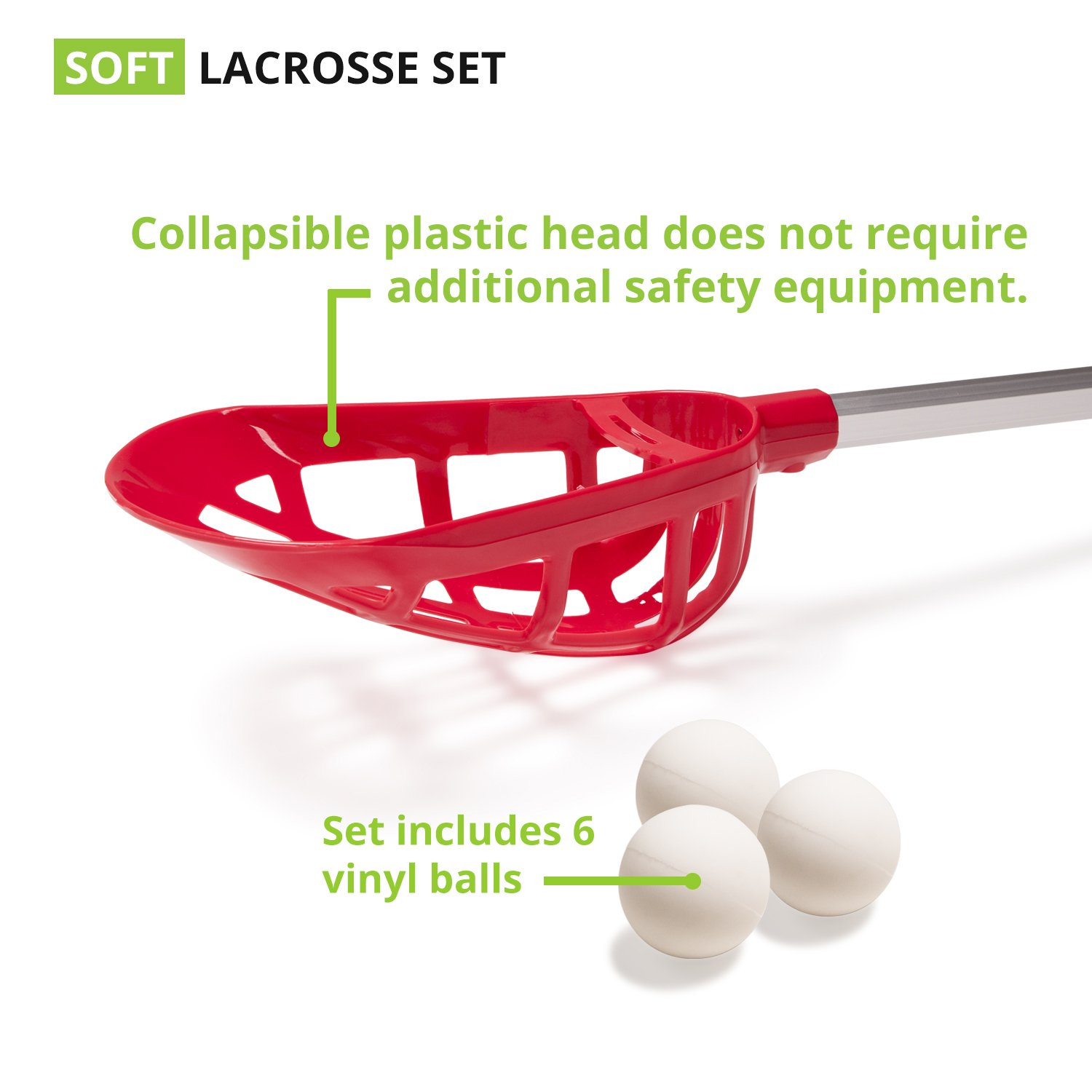Champion Sports Soft Lacrosse Set: Training Equipment for Boys, Girls, Kids, Youth and Amateur Athletes - 12 Aluminum Sticks and 6 Vinyl Balls for Indoor Outdoor Use by Champion Sports (Image #3)