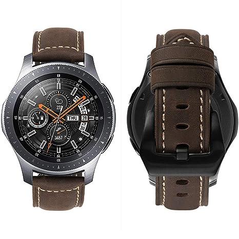 MroTech Correa de Reloj de Cuero 22mm Liberación Rápida Pulsera de Repuesto Piel Compatible para Samsung