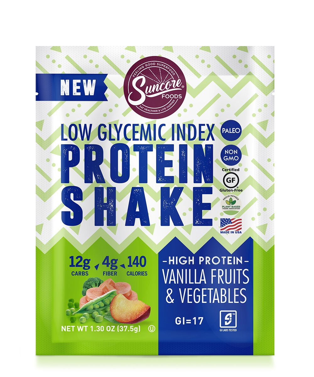 Suncore Foods - Low Glycemic Index Protein Shake, Vanilla Fruits & Vegetables - 6 Pouches, 1.3oz per pouch