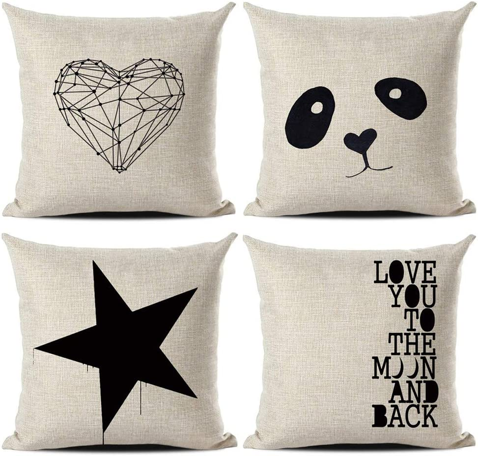 Gspirit Funda Cojines Amor Panda Estrella Tema 4 Pack Algodón Lino Decorativo Throw Pillow Case Funda Almohada 45x45cm: Amazon.es: Hogar