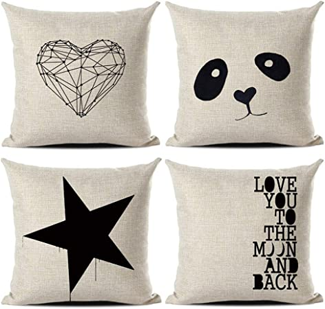 Gspirit Funda Cojines Amor Panda Estrella Tema 4 Pack Algodón Lino Decorativo Throw Pillow Case Funda Almohada 45x45cm: Amazon.es: Hogar