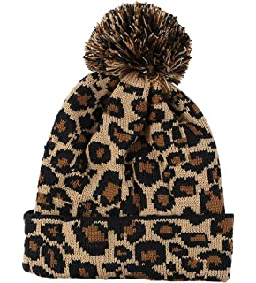 0887f533c8f4c8 S Forever Women Winter Sexy Leopard Cable-Knit Pom-Pom Wool Beanie Knitted  Hat