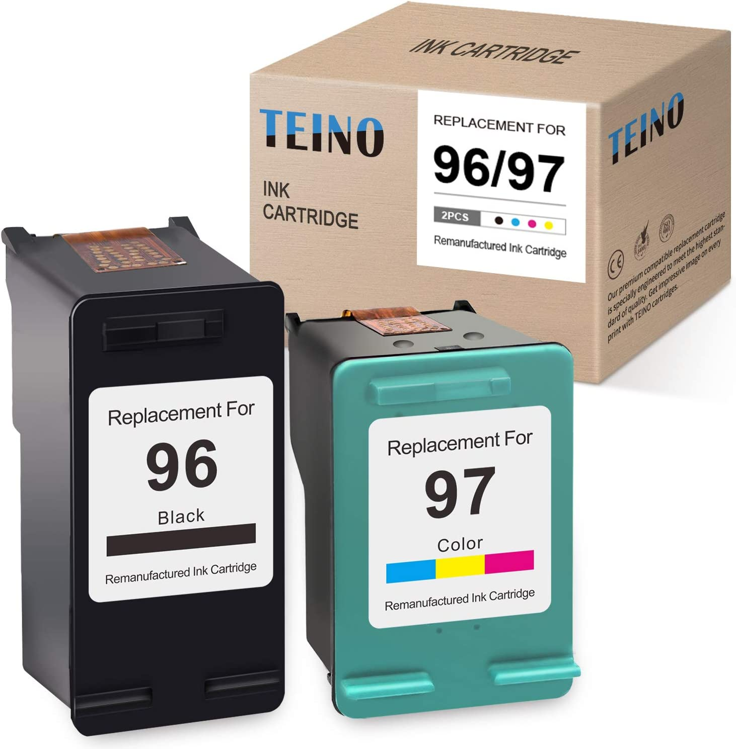 TEINO Remanufactured Ink Cartridge Replacement for HP 96 97 C9363WN C8767WN use with HP DeskJet 6940 6540 6980 5940 5740 Photosmart 8150 8450 2610 8400 OfficeJet 7310 7410 (Black, Tri-Color, 2-Pack)