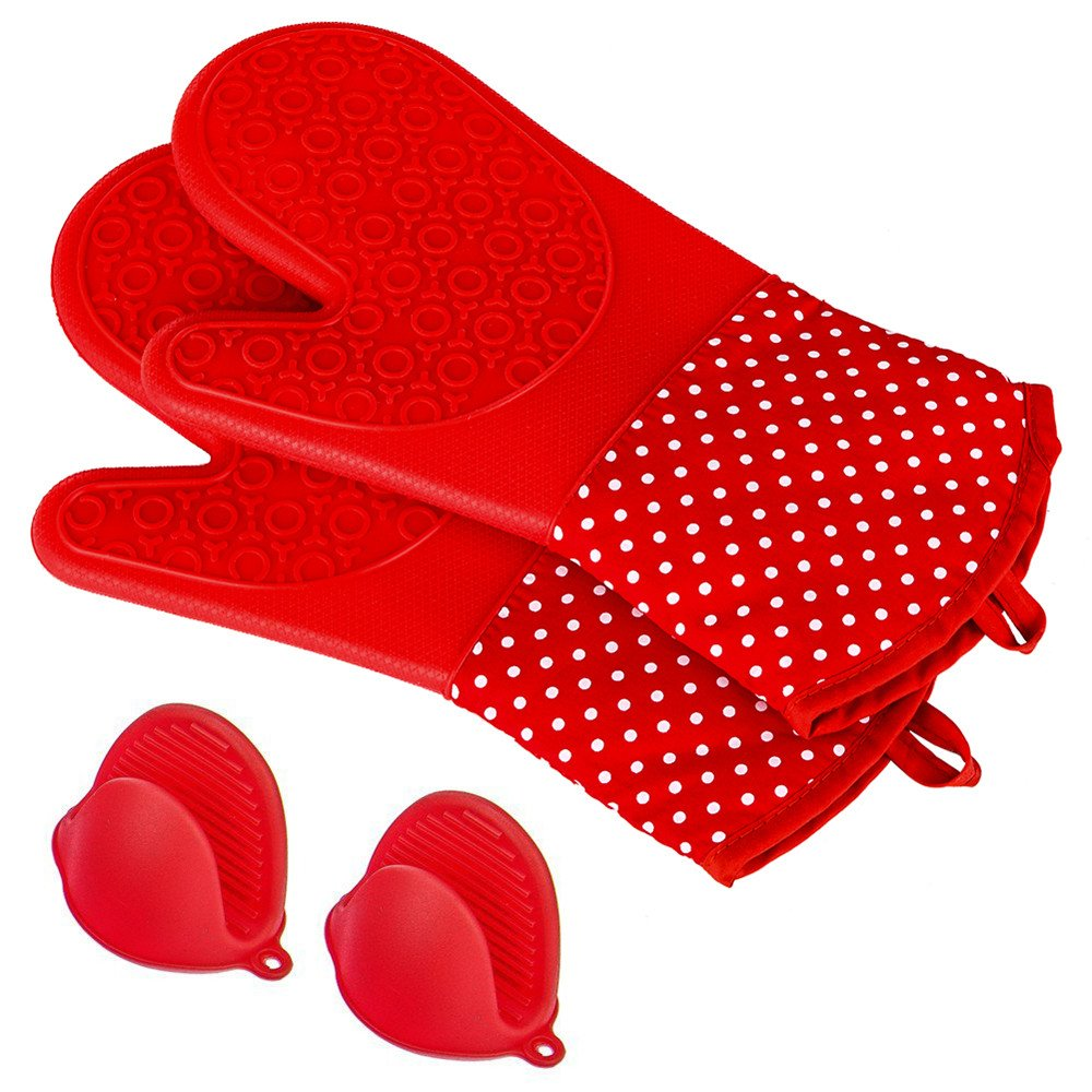 X-Chef Heat Resistant SIilicone Oven Mitts with Bonus 1 Pair of Mini Pinch Grips, FDA Approved Kitchen Gloves for Baking and Cooking with Cotton Lining, Extra Long, Red by X-Chef