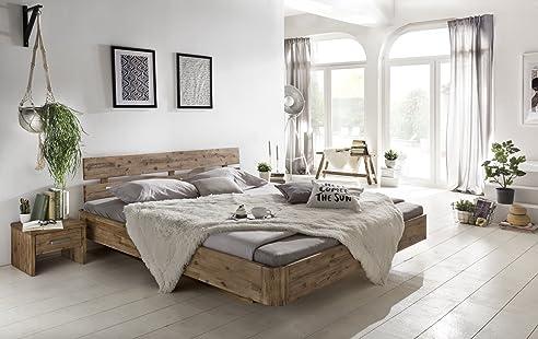Woodkings® Bett 180x200 Hampden Doppelbett Akazie weiß gebürstet ...