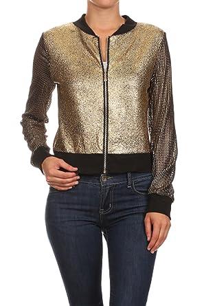 Bangbangusa Womens Zippered Metallic Gold Bomber Long Sleeves Jacket(S,Gold)