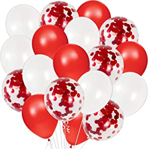 Red Confetti Balloons, Red and White Latex Balloons | Pack of 40 | Red Ballooons | White Balloons | Red Confetti Balloons | Valentines Day Balloons | Valentines Day Decorations | Anniversary Décor