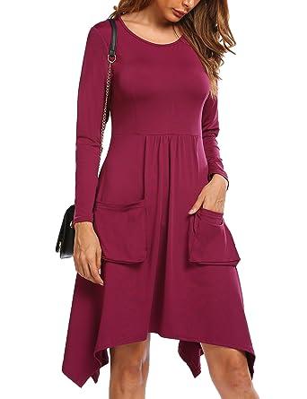 251b5ed3ed SE MIU Women Casual Long Sleeve Solid Skater Flare Swing Midi Dress with  Pockets S-