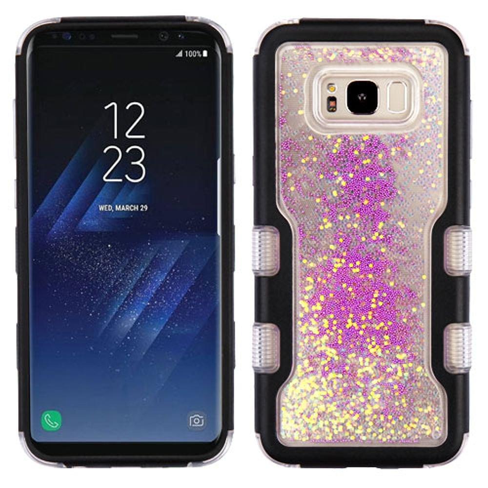 Galaxy s8ケース、MYBAT Quicksandキラキラビーズデュアルレイヤ[衝撃吸収]保護ハイブリッドPC/TPUラバーケースカバーfor Samsung Galaxy s8、ブラック/パープル B073PSNST1