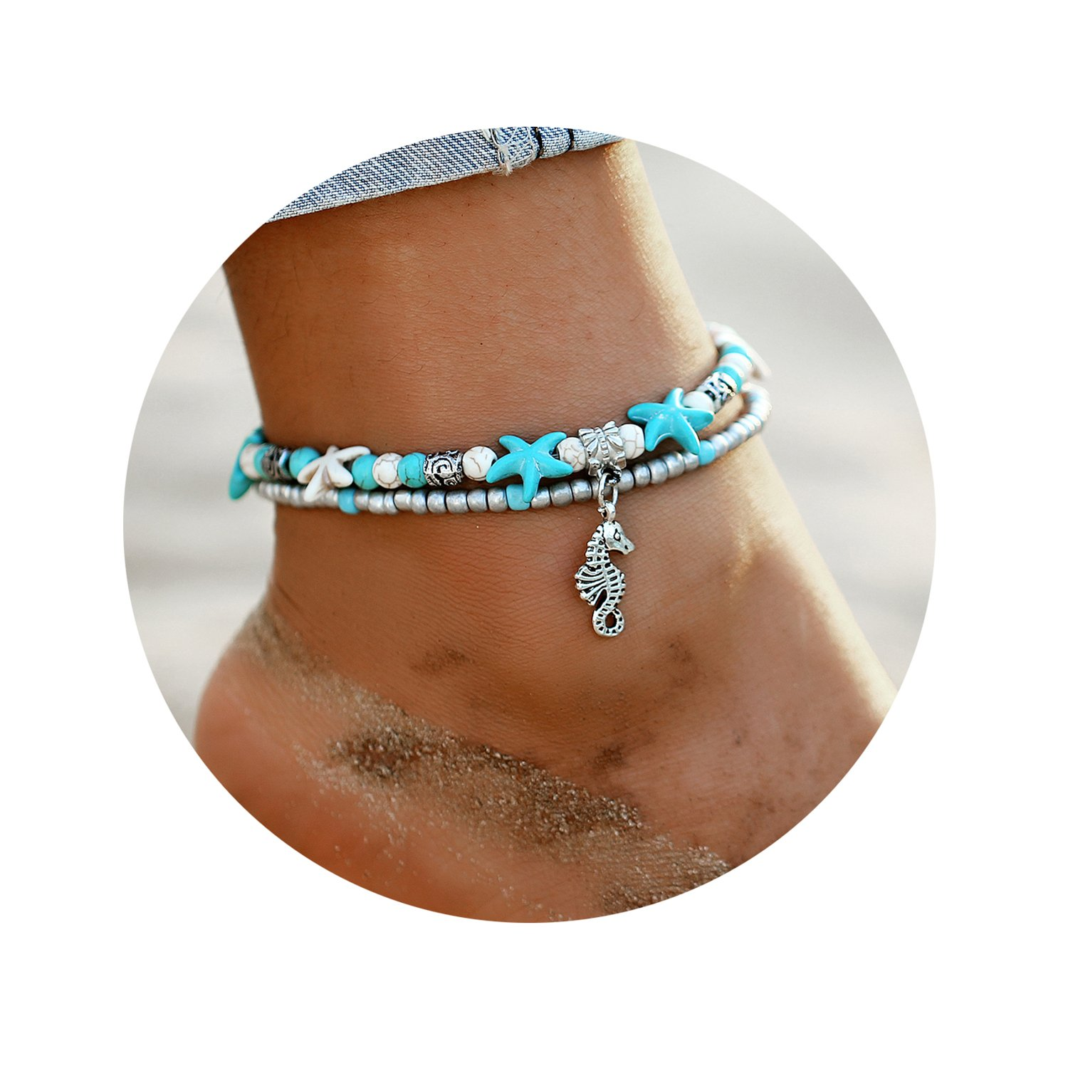 17mile Blue Starfish Turtle Anklet Multi-Layer Charm Beads Sea Bench Handmade Boho Anklet Foot Jewelry Gifts for Women TVYB0023US