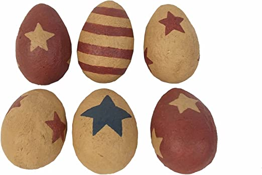 2.25 x 3.25 Craft Outlet Papier Mache Americana Eggs Bag of 6
