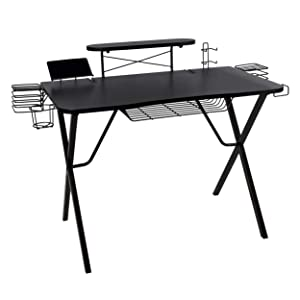 "Atlantic Gaming Desk Pro Curved-Front - 10 Game, Controller, Headphone & Speaker Storage, 41""x23.5"" Curved Front Desktop, Enhanced larger Design"