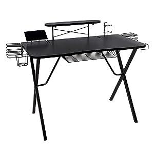"""Atlantic Gaming Desk Pro Curved-Front - 10 Game, Controller, Headphone & Speaker Storage, 41""""x23.5"""" Curved Front Desktop, Enhanced larger Design"""